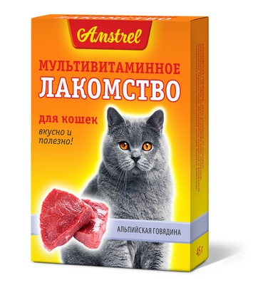 Мультивитаминное лакомство Amstrel для кошек со вкусом альпийской говядины