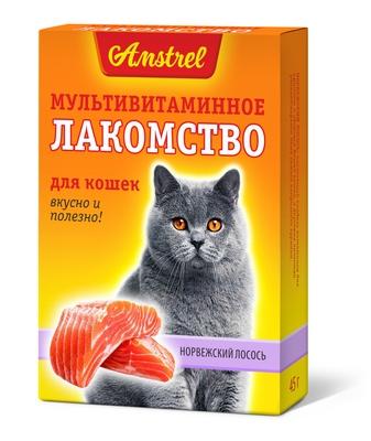 Мультивитаминное лакомство Amstrel для кошек со вкусом норвежского лосося