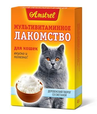 Мультивитаминное лакомство Amstrel для кошек со вкусом деревенского творога со сметаной
